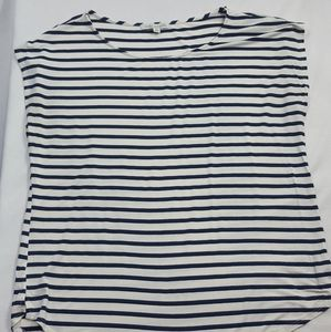 Green Envelope LA Navy Striped Cut Off T-Shirt